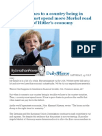 When it comes to a country being in trouble it must spend more Merkel read the history of Hitler's economy