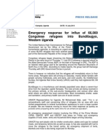 UNHCR Uganda Press Release DRC Refugee Influx Into Bundibugyo - 14 July