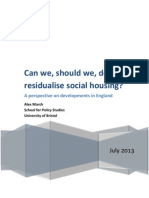 Can we, should we, de-residualise social housing? A perspective on developments in England