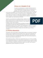 Efectos de Políticas en el Modelo IS LM