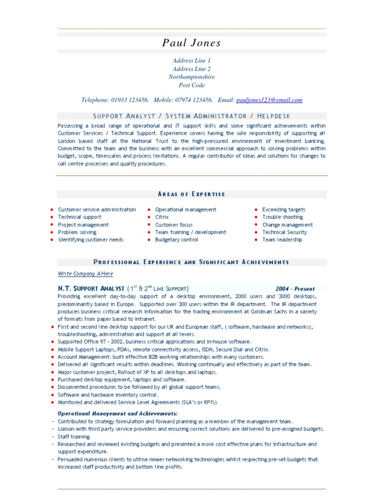 Support Systems Admin CV And Resume Sample | Technical Support | System  Administrator