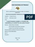 CUESTIONARIO SOBRE LA TEORÍA DEL DESARROLLO COGNITIVO DE JEAN PIAGET