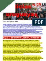Noticias Uruguayas Lunes 15 de Julio 2013