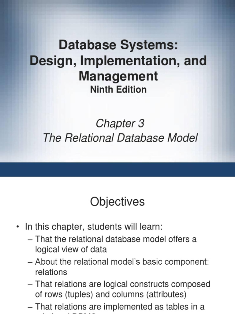 9780538469685 Ppt Ch03 Relational Database Relational Model