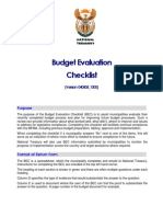 Legislative Acts - MFMA - Budget Process - Budget Evaluation Checklist