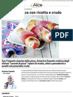 Cannoli Di Pizza Con Ricotta e Crudo