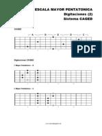 Escala Mayor Pentatónico DIGITACIONES (2) - SISTEMA CAGED