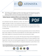 Buklod Atenista's Individual Efforts and Condemnation of Zamboanga City's Recent Killings