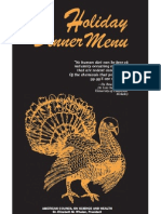 ACSH Holiday Dinner Menu