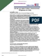 Proyecto Ley Sobre Cultos Cuba