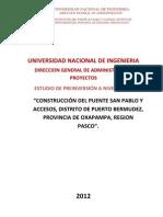 PIP - CONST. PUNTE SAN PABLO Y ACCESOS DISTRITO DE PUERTO BERMUDEZ - AÑO 2012