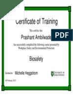 Biosafety Certificate
