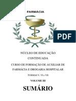 LIVRO DE FARMÁCIA VOLUME III PROTOCOLO 590588 TURMA V, VII E VII sumário