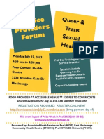 Queer and Trans Sexual Health Service Provider Forum July 22 2013