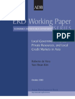 Local Government Finance, Private Resources, and Local Credit Markets in Asia