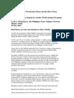 Manila Water Privatization Fiasco by Montemayor 2003