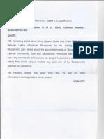 NIA's Note to MHA on Ishrat Jehan-Headley (2010)