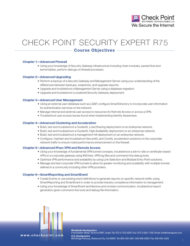 checkpoint ccse objectives | Virtual Private Network