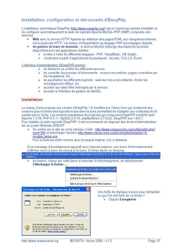 EASYPHP1-7 SETUP TÉLÉCHARGER