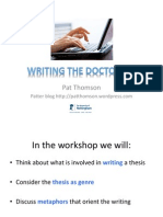 UWE Summer sessions - writing the Doctorate