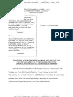 Plaintiffs' Memorandum in support of joint motion for preliminary approval of class settlement and approval of notice to settlement class members