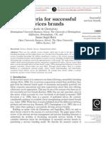 Criteria for successful service brands