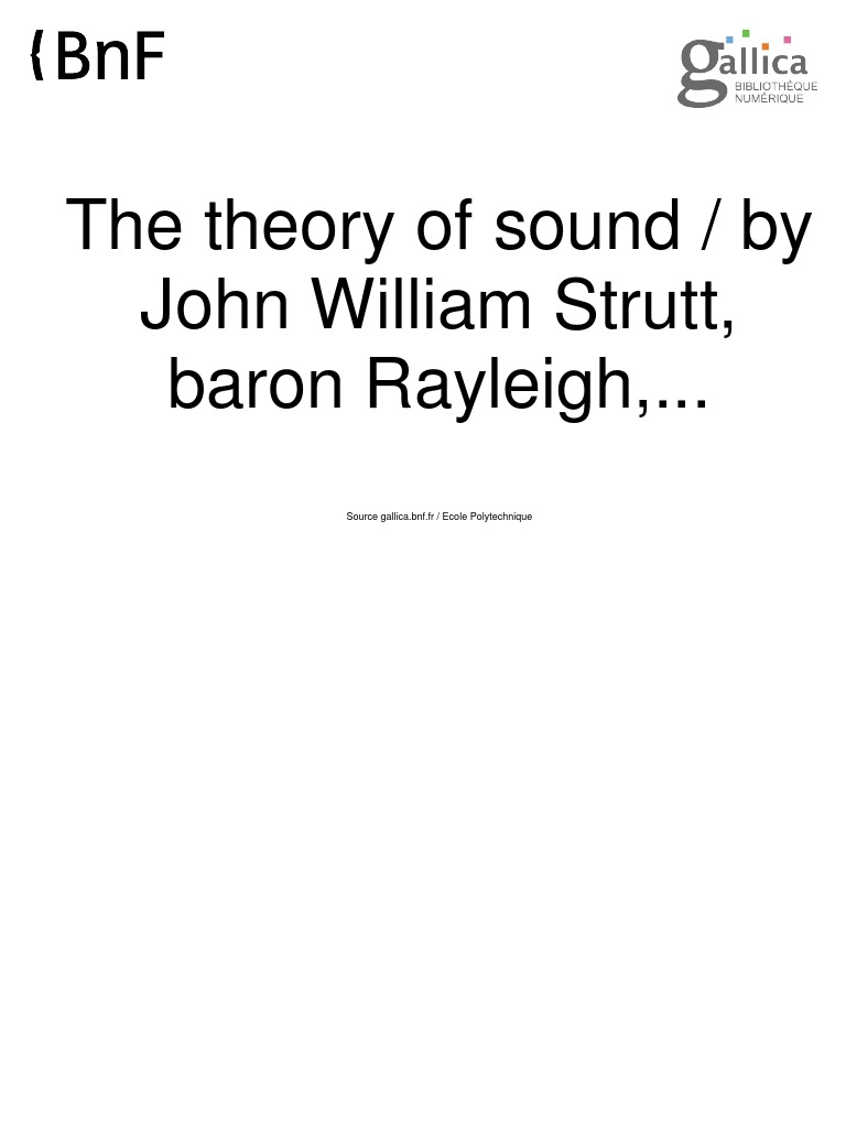 Lord Rayleigh - The Theory of Sound Vol 2 | Amplitude | Physics