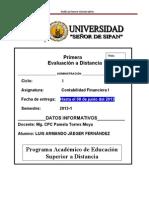 1ra evaluación a distancia 8JUNIO2013 conta finan i_LJF