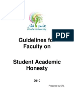 Guidelines for Faculty on Student Academic Honesty
