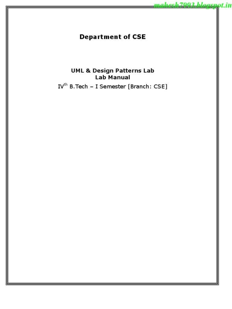 r10 Jntu-k Cse 4-1 Uml & Dp Lab Manual(Dp) | Unified Modeling Language |  System