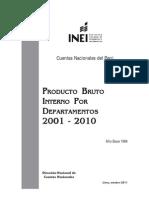 INEI - PBI Por Departamentos 2001-2010