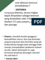 Mekanisme Distosia Menurut Penyebabnya