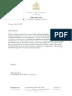 Resignation letter of MLA Mike Allen