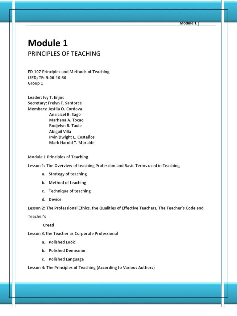 Module 1 principle of teaching teachers gesture fandeluxe Choice Image