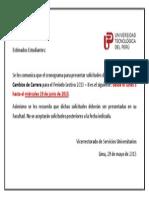 GRONOGRAMA DE PRESENTACIÓN DE SOLICITUDES PARA REINCOPORACIÓN Y CAMBIO DE CARRERA