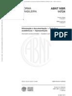NBR14724 - Informação e documentação, Trabalhos acadêmicos, Apresentação