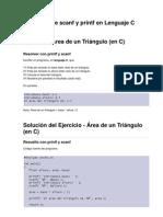 Ejercicios de c de Printf y Scanf