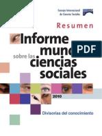 World Social Science Unesco 2010 Resumen Esp