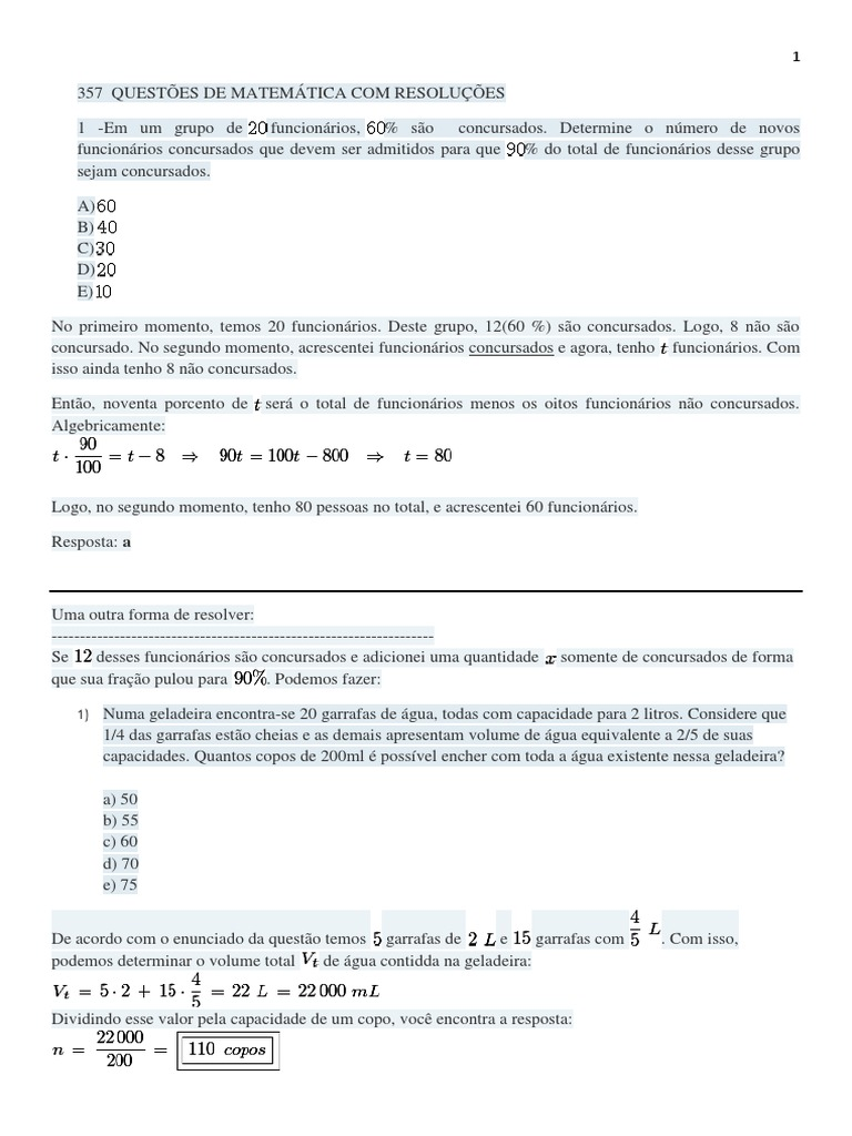 357 Questões de Matemática com resolução passo a passo 03c4a7ef98