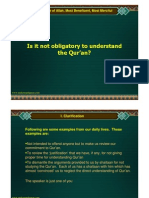 Is it not obligatory to understand the Quran