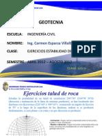 Ejercicios Clase y Deber de Talud en Roca