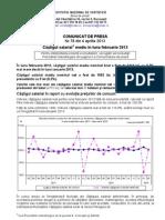 Castigul salarial mediu în luna februarie 2013
