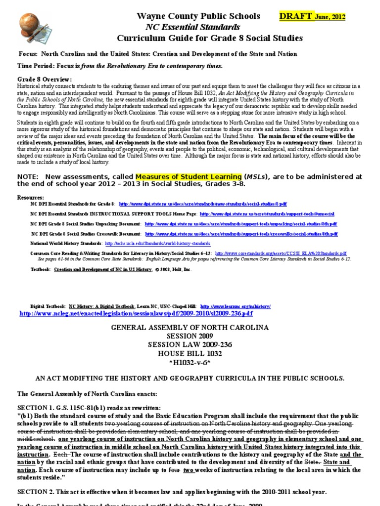 WCPS Gr 8 Soc Studies Curriculum Guide 2012 DRAFT REV | American Civil War  | Common Core State Standards Initiative