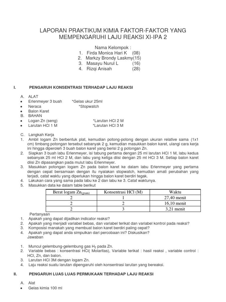 Laporan Praktikum Kimia Faktor