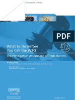What to Do Before You Call the WTO? The Prelitigation Assessment of Trade Barriers