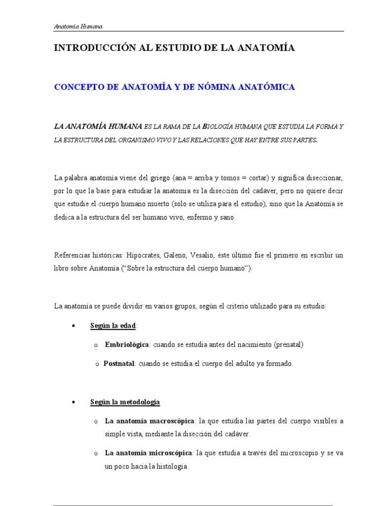 Introduccion a La Anatomia 1
