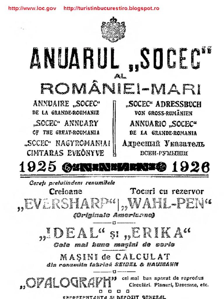 OCR Anuarul Socec Al Romaniei Mari Vol I Bucuresti 1925 1926
