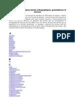 Glossaire Des Termes Orthographiques, Grammaticaux Et Lexicaux