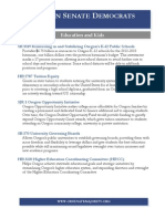 Oregon Senate Democrats 2013 Session Accomplishments