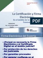 La Certificacion y Firma Electronica en El Ambito de La Informatica Forense